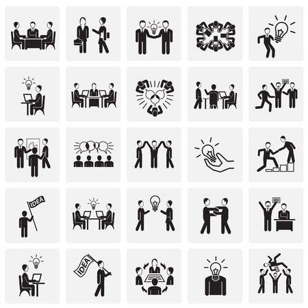 Coworking set on squares background icons Illusztráció