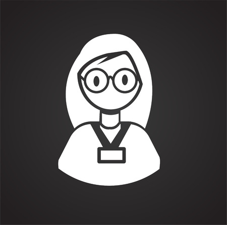 Coworker on black background icon