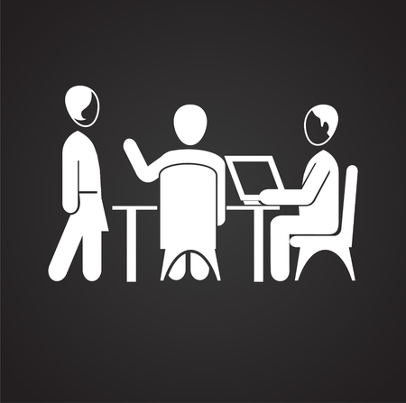 Coworking businessman works behind computer icon on black background Vectores