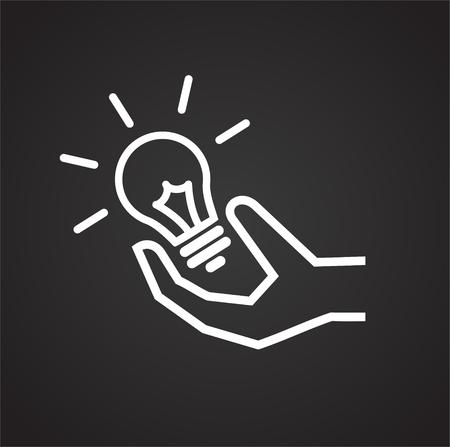 Coworking idea light bulb on black background icon Illustration