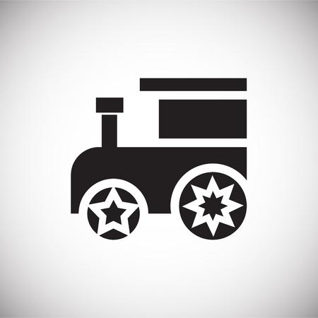 Christmas toy train on white background icon
