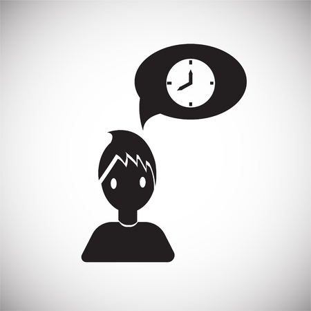 Coworker time manegement on white background icon 矢量图像