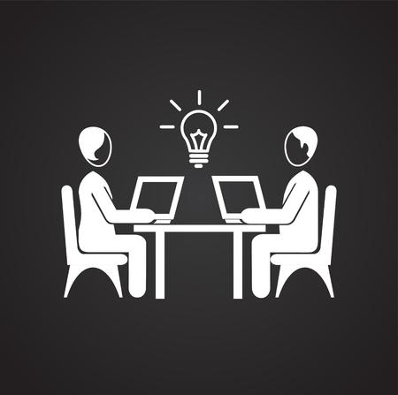 Coworking businessman works behind computer icon on black background