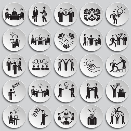 Coworking set on plates background icons Ilustración de vector