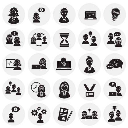 Coworking set on circles background icons Иллюстрация