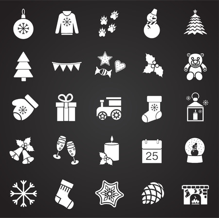 Christmas set on black background icons Vectores