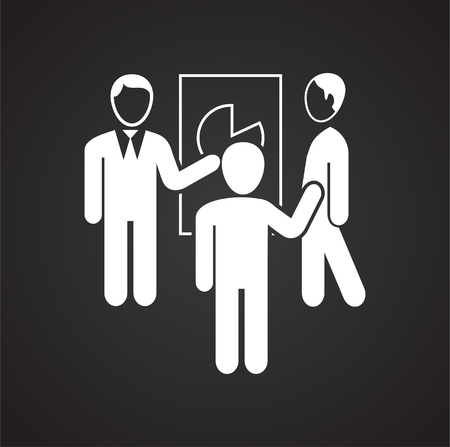 Coworking discussion diagram on black background icon Illustration