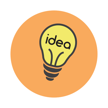 Coworking idea bulb flat on white background icon