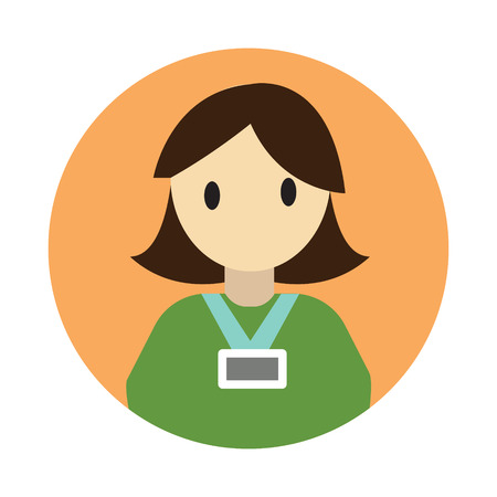 Coworker flat on white background icon
