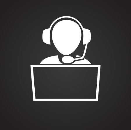 Person sitting at the computer on black backgroung icon Illustration