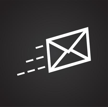 E-Mail-Versand auf schwarzem Hintergrundsymbol