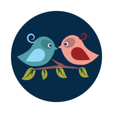 Flat Birds in love on white background icon