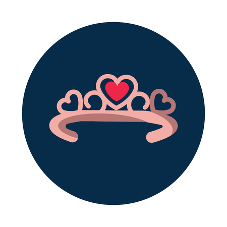 Flat Diadema with heart on white background icon