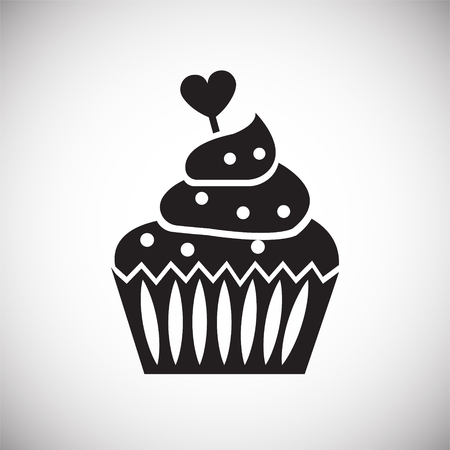 Valentines day cake on white background icon