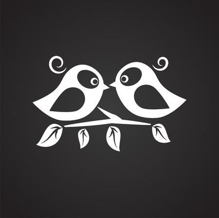 Birds in love on black background icon