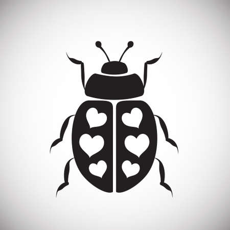 Lady bug with hearts on white background icon