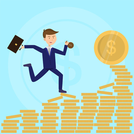 Businessman running to profit dollar coing flat illustration Ilustrace