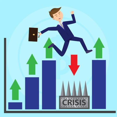 Businessman jumps over profoundness escaping crisis flat illustration