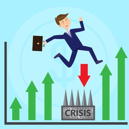 Businessman jumps over profoundness escaping crisis flat illustration Illustration