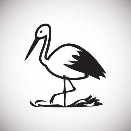 Stork in nest on white background icon Illustration