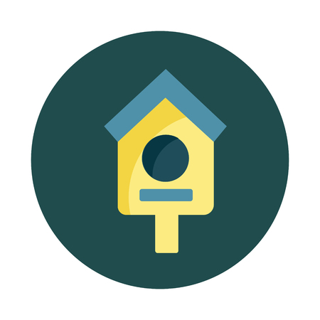 Flat Birdhouse on white background icon