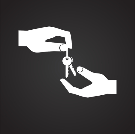 Hand giving a property key on black background icon Иллюстрация