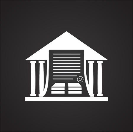 Real estate property buying contract on black background icon