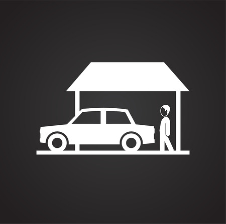 Property with garage on black background icon