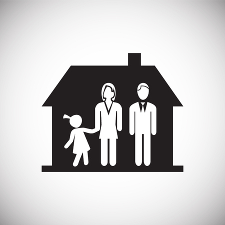 Family in new home on white background icon