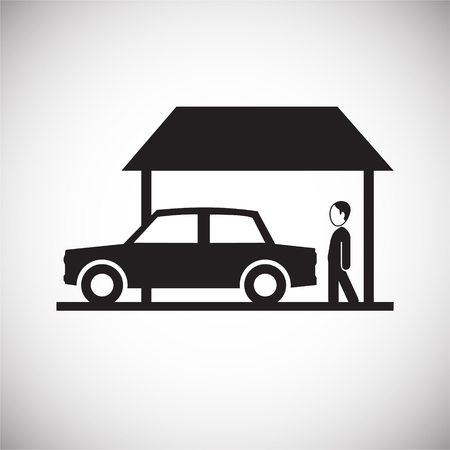 Property with garage on white background icon