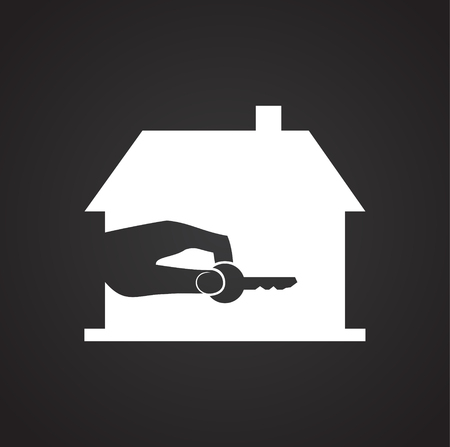 Real estate on black background icon Ilustração