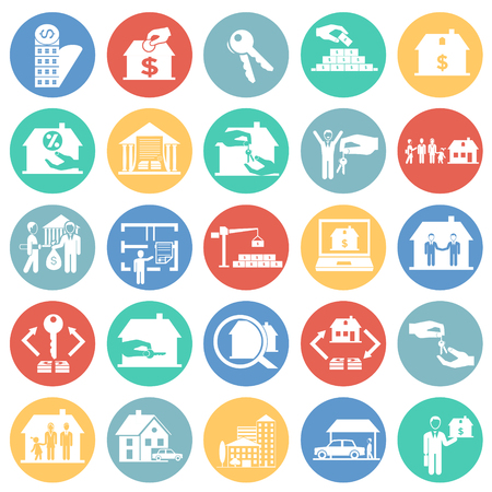 Real estate and mortgage set on color circles background icons