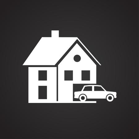 Real estate on black background icon Illustration