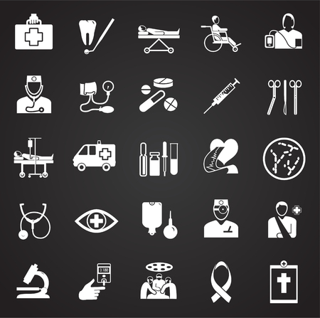 Medicine icon set on black background icons Ilustração