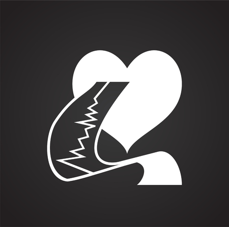 Heart with cardiogram on black backgorund icon Ilustração