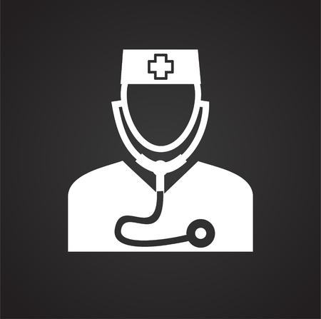 Doctor on black background icon Illusztráció