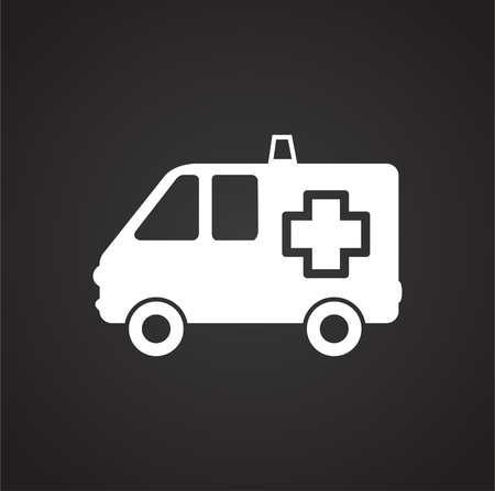 Ambulance truck on black background icon Ilustração