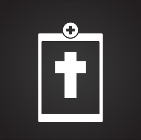 Death report on black background icon Illustration