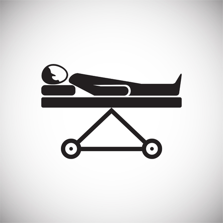 Ambulance stretcher with patient on white background icon