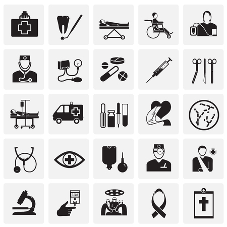 Medicine icon set on squares background icons
