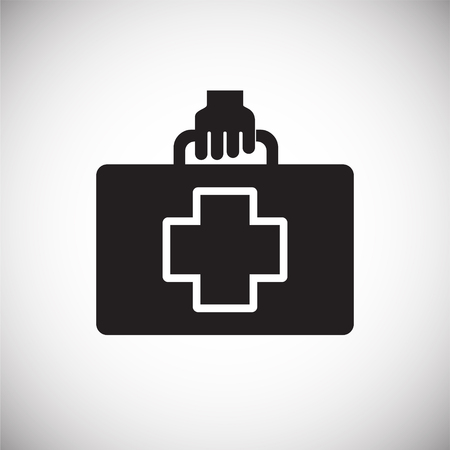 First aid kit on white background icon