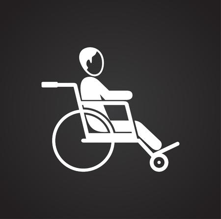 Disabled person on wheelchair on black background icon Illusztráció