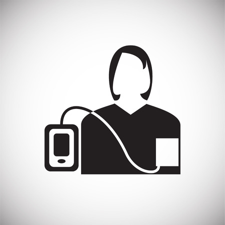 Arterial pressure measurement on white background icon