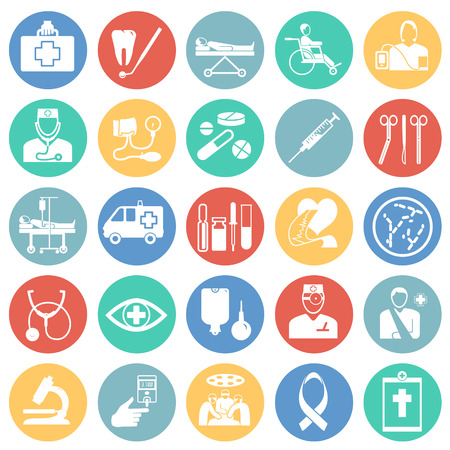 Medicine icon set on color circles background icons