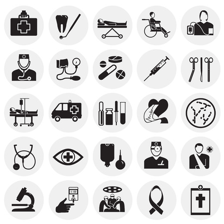 Medicine icon set on circles background icons Ilustração