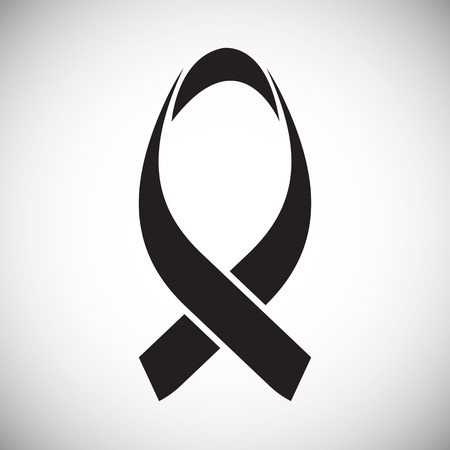 Cancer awareness sign on white background icon