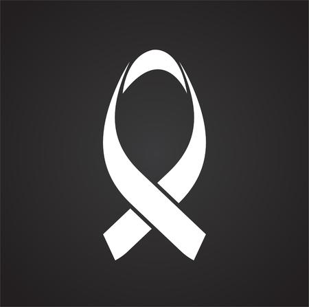 Cancer awareness sign on black background icon Illusztráció