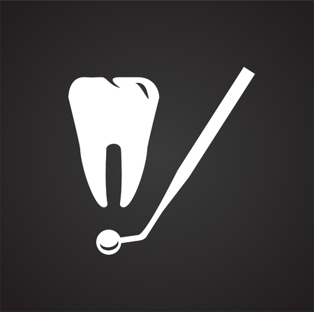 Stomatology icon on black background icon