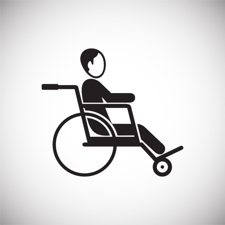 Disabled person on wheelchair icon on white background