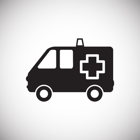 Ambulance truck on white background icon